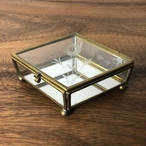 Vintage Glass Jewelry Box Geometric Gold